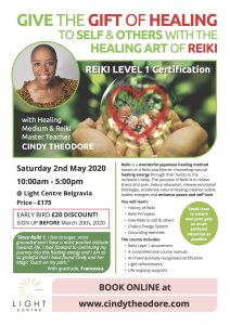 Reiki Level 1 with Healing medium/Reiki Master Teacher Cindy Theodore @ Light Centre Belgravia | England | United Kingdom